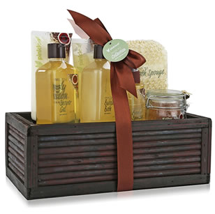 7pc spa gift set in wooden bamboo box