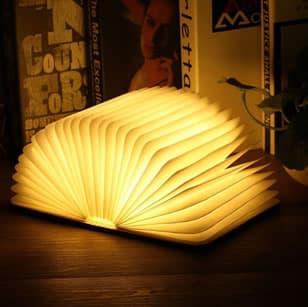 wooden book light