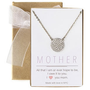 mother's crystal disk pendant necklace