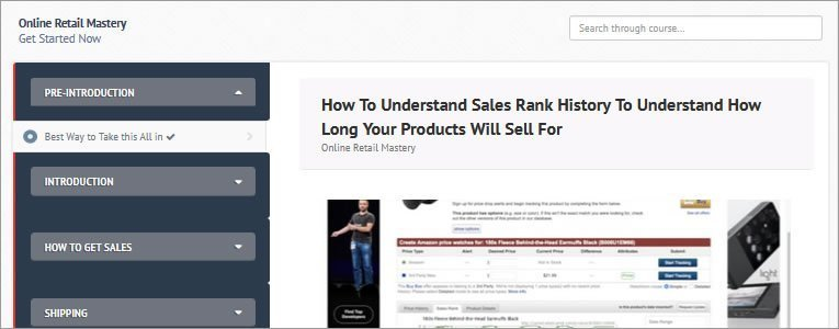 Inside the Online Retail Mastery Course