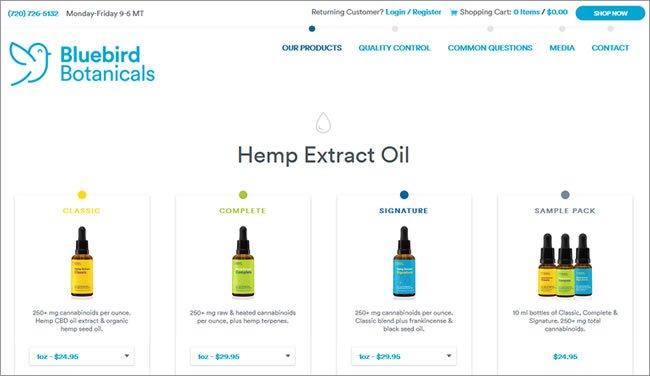 Bluebird Botanicals hemp oil